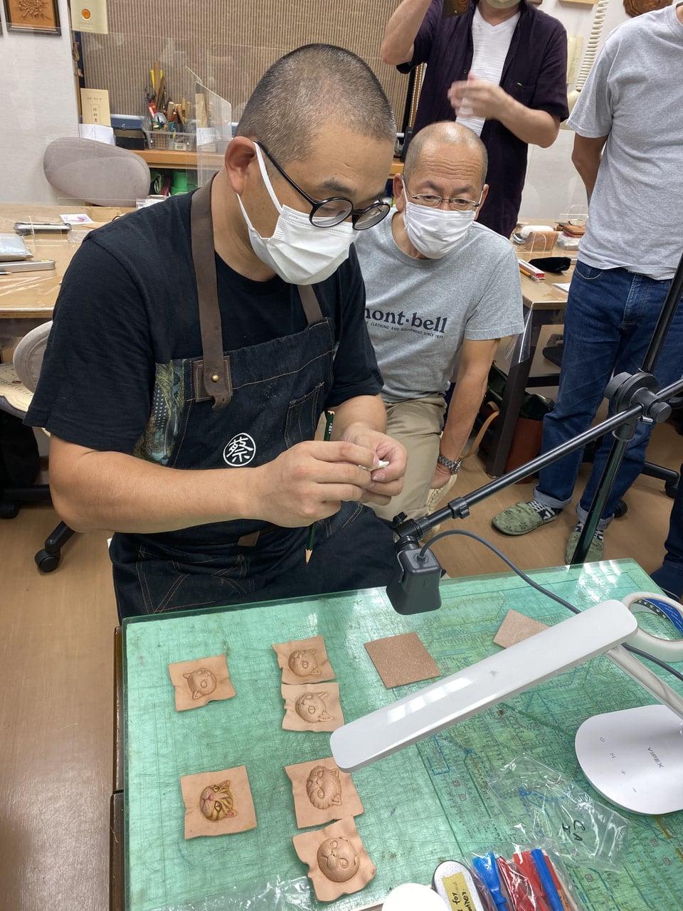 立体猫実技 JLCA講習会 レザークラフト  革工芸