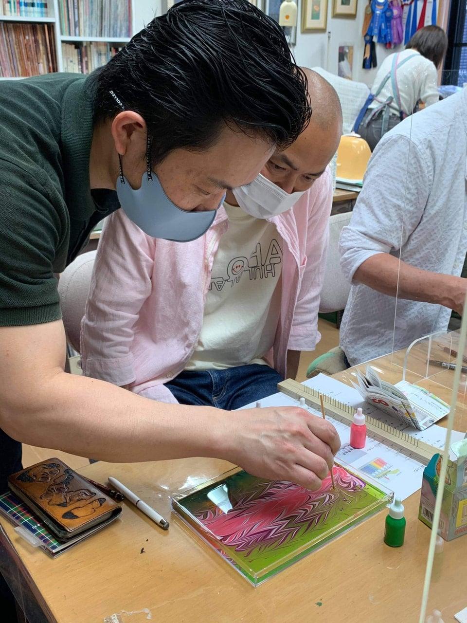 マーブリング講習会 JLCA ILCE Japan leather Craft 協会